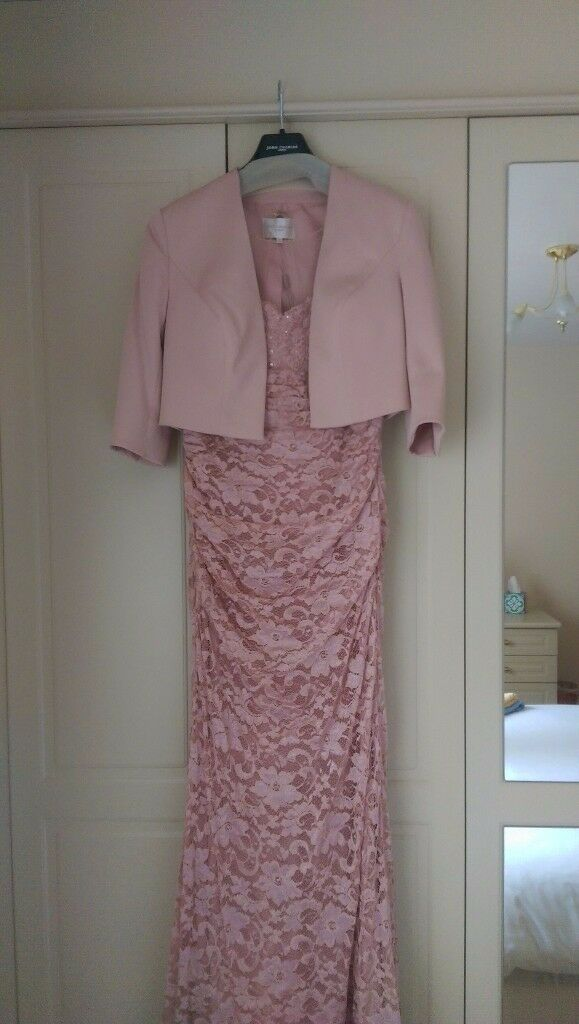 John Charles Mother of the Bride size 12, pink long dress & jacket with matching hat