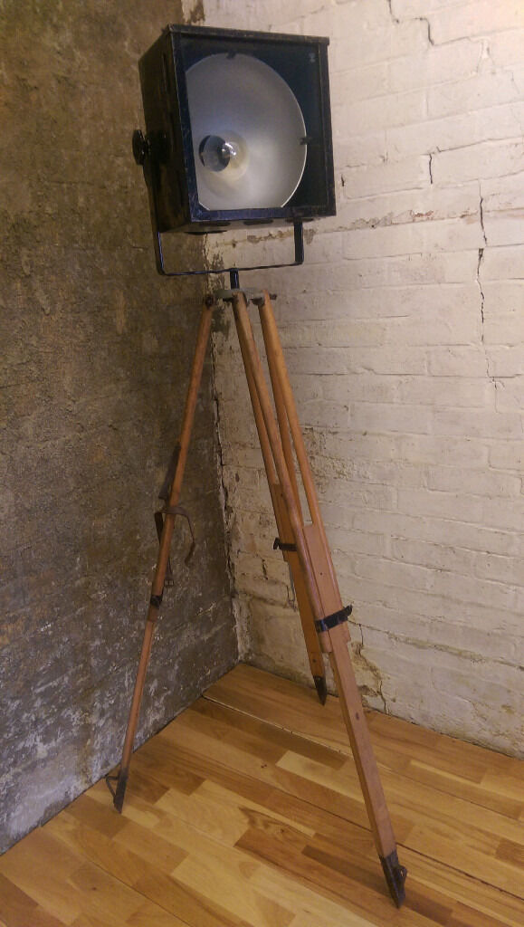 Upcycled reclaimed vintage retro tripod floor lamp for Industrial floor lamp gum tree