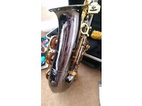 Alto saxophone with case, strap, gloves and beginners book