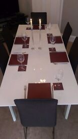 Modern gloss white Debenhams extendable dining table & 6 fabric charcoal chairs, excellent condition