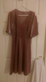 Red Herring Pink Velvet Dress Never worn size 12