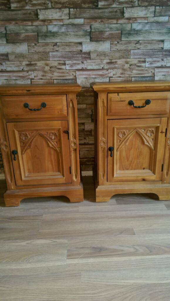 John Lewis Antique Pine Gothic Bedside Tables In Chester