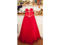 Scarlett Gemstone Embellished Red Prom/ball Dress Size 10