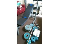 110 kg weights with foldable bench