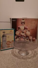 Glass cake stand, metal cupcake stand and retro cookie/biscuit maker for bakers/cake decorators