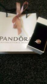 Pandora pink opal & marcasite ring