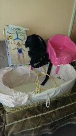 Moses basket baby carrier,booster seat,and bounser.basic car seat