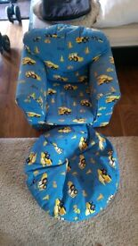 Little boys toddler chair and bean bag