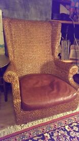Japanese wicker arm chair with cushion