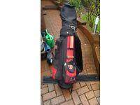 Golf equipment - trolley + bag + clubs + balls