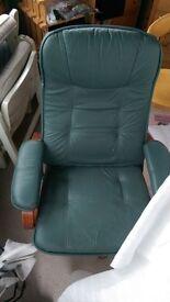 2x Green leather reclining swivel chairs, like Lazee Boy