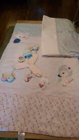 Next nursery girls bedding:- quilt, curtains & cot mobile