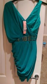 Green lipsy dress with embellished waist band