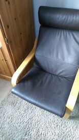 POANG leather ikea arm chair