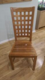 3x Solid Teak High Back Dining Chairs