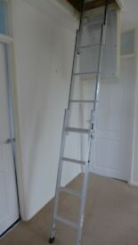 Youngman three section sliding aluminium loft ladder.
