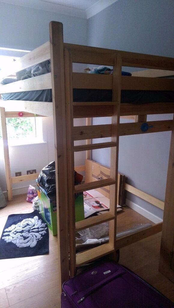 Double 4ft 6 High Sleeper Loft Bed And Memory Foam Mattress
