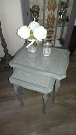 Nest of tables in grey chalk paint with glass top inlays