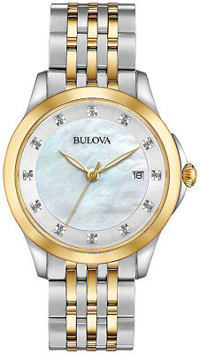 Bulova 98P161 Diamond Accent Mother of Pearl Dial Gold Silver Tone Women's Watch