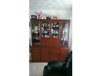 Tall Display Cabinet/ Sideboard in Mahogany (top and bottom can be separated to remove)