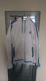 Never Worn Adidas Originals Zip Jacket. White Blue XXL