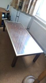 Coffee table, occasional table, Glass top solid walnut, brass edged lovely piece