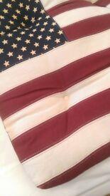 US flag chair cushion with ties