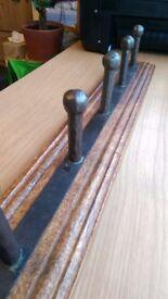 Antique Style Wooden Coat Rail - Metal Hooks - Dark Wood
