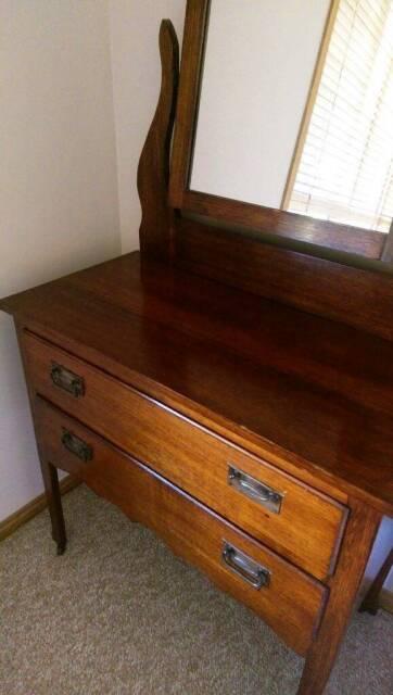 Antique Oak Dresser 2 Drawer With Mirror Antiques Gumtree