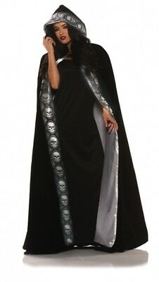 Silver Cape Costume (Velvet Skull Cape Black Silver Adult Men Women Halloween Costume Accessory)