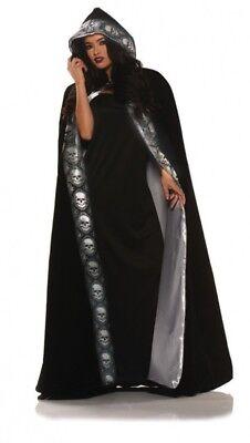 Velvet Skull Cape Black Silver Adult Men Women Halloween Costume Accessory Hood - Mens Black Cape