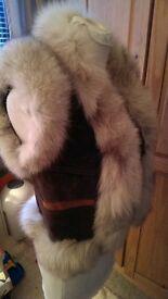 Handmade Genuine leather & real Fur Gillet Size 6-8