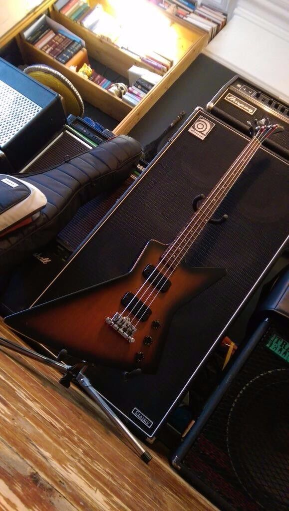 2012 Gibson Explorer bass guitar, with plush hardcase.