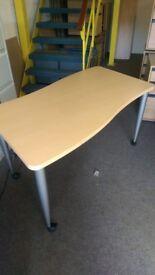 Light Beech effect waved office table 1400mm