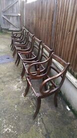 REDUCED! 6x vintage, red wood (mahogany? Cherry wood?) Dining chairs