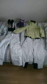 Girls ski clothes and boots bundle