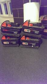 Milwaukee batteries 3ah x4