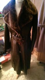 Womens leather & real fur coat size 12-14