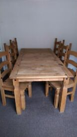 6ft Corona Mexican Pine Dining Table with 6 chairs