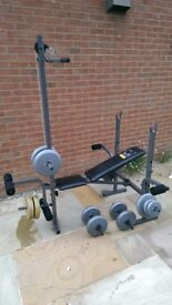 Weights Bench & Weights Weider 244 Bench with Dumbells and weights