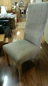 Tweed fabric solid oak frame dining chairs