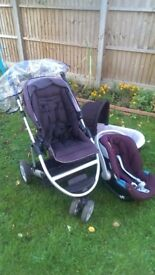 mamas and papas zoom 3 in 1 car seat, pram, carry cot
