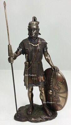 ANCIENT TIMES ROMAN LEGION SOLDIER W/ JAVELIN ROUND SHIELD Statue Bronze Finish