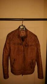 Small (36-38) Sting Earth Warm Brown Leather Jacket