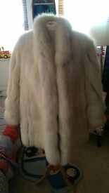 Real White Fox Fur Coat 12-14-16