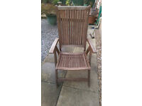 Two Solid Teak Recliner Garden Chairs