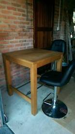 Bar hight table and 2 black leather bar stools