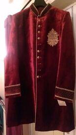 Red velvet male suit