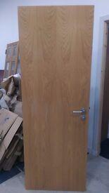 Oak veneer internal doors - modern handles, bath lock, hinges - THREE AVAIL - CAN DELIVER