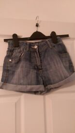 Girl's denim shorts. Age 11-12. Good condition.